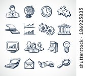sketch infographic icons set... | Shutterstock .eps vector #186925835