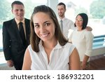 handsome business woman posing... | Shutterstock . vector #186932201