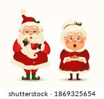 Mrs. Claus Together. Vector...