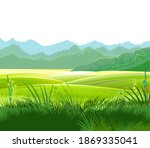 hills and meadows. haymaking in ... | Shutterstock .eps vector #1869335041