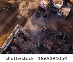 Aerial View Of Demolition Site. ...