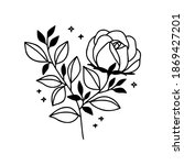 hand drawn black botanical rose ...   Shutterstock .eps vector #1869427201