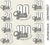 anniversary sign collection and ... | Shutterstock .eps vector #186944837