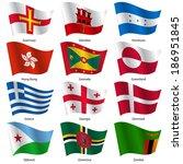 set  flags of world sovereign... | Shutterstock .eps vector #186951845