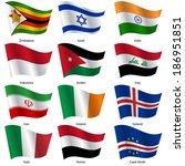 set  flags of world sovereign... | Shutterstock .eps vector #186951851