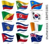 set  flags of world sovereign... | Shutterstock .eps vector #186951881