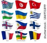 set  flags of world sovereign... | Shutterstock .eps vector #186951899