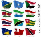 set  flags of world sovereign... | Shutterstock .eps vector #186951905