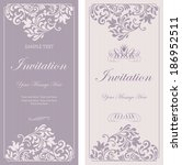 set of antique greeting cards ... | Shutterstock .eps vector #186952511