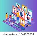recruiter man is looking for... | Shutterstock .eps vector #1869535594