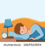 sleepy awake man in bed suffers ... | Shutterstock .eps vector #1869563854