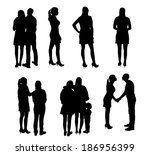 set of silhouette people.... | Shutterstock .eps vector #186956399