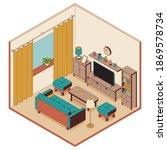 living room in isometric style. ...   Shutterstock .eps vector #1869578734