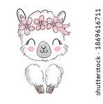 hand drawn cute alpaca  llama... | Shutterstock .eps vector #1869616711