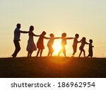 concept of silhouettes on... | Shutterstock . vector #186962954