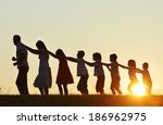 concept of silhouettes on... | Shutterstock . vector #186962975
