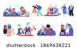elderly characters. old people... | Shutterstock .eps vector #1869638221
