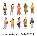 different stylish women. casual ... | Shutterstock .eps vector #1869639334