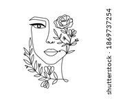 line art women's portrait... | Shutterstock .eps vector #1869737254