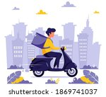 delivery service concept.... | Shutterstock .eps vector #1869741037