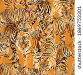 tiger art  seamless pattern  on ... | Shutterstock .eps vector #1869753301