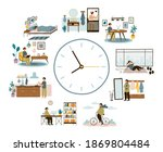 man daily schedule. lifestyle... | Shutterstock .eps vector #1869804484