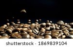 scattered coffee beans on black ... | Shutterstock . vector #1869839104