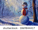 Oil Painting Happy Snowman...