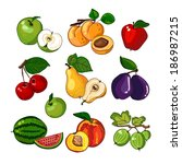 fruits collection | Shutterstock .eps vector #186987215