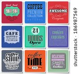 retro coffee  labels and... | Shutterstock . vector #186987569