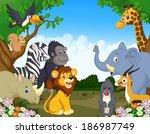 wild animal cartoon | Shutterstock .eps vector #186987749