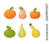 set of pumpkins of different... | Shutterstock .eps vector #1869895507
