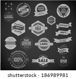 set of vintage retro labels c   ... | Shutterstock . vector #186989981