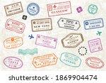 world travel passport stamps.... | Shutterstock .eps vector #1869904474