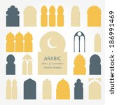 arabic door and window vector... | Shutterstock .eps vector #186991469