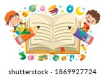 funny kid flying on colorful... | Shutterstock .eps vector #1869927724