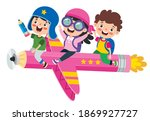Funny Kid Flying On Colorful...