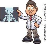 cartoon radiologist doctor... | Shutterstock .eps vector #1869941671