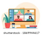 videoconference with happy...   Shutterstock .eps vector #1869944617