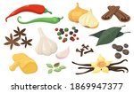 colorful spicy spices and... | Shutterstock .eps vector #1869947377