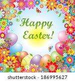 easter greeting card. raster... | Shutterstock . vector #186995627