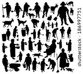 Farmer Women Silhouettes Set