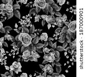 Stock photo seamless floral monochrome pattern with of roses on black background watercolor 187000901
