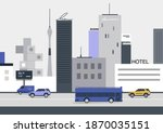 urban cityscape  vehicles ... | Shutterstock .eps vector #1870035151