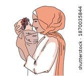 arabic happy mum and child.... | Shutterstock .eps vector #1870035844