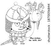Vector Outline Cartoon On A...
