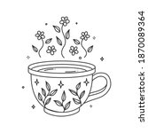 coloring book pages hygge cups...   Shutterstock .eps vector #1870089364