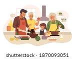 happy family cooking in cozy... | Shutterstock .eps vector #1870093051