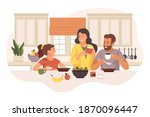 happy family having breakfast... | Shutterstock .eps vector #1870096447