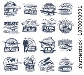 aviation vector icons vintage...   Shutterstock .eps vector #1870098931